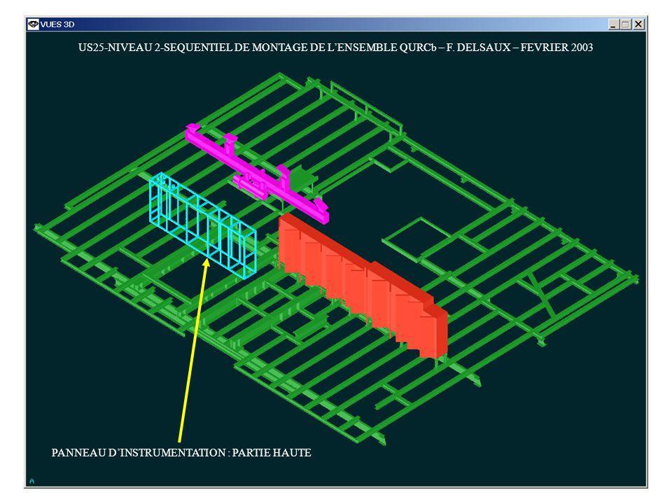 US25-NIVEAU 2-SEQUENTIEL DE MONTAGE DE LENSEMBLE QURCb – F. DELSAUX – FEVRIER 2003 PANNEAU DINSTRUMENTATION : PARTIE HAUTE