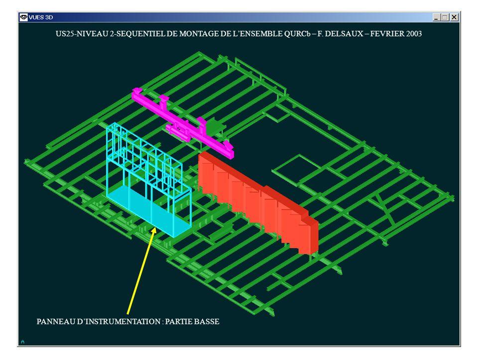 US25-NIVEAU 2-SEQUENTIEL DE MONTAGE DE LENSEMBLE QURCb – F. DELSAUX – FEVRIER 2003 PANNEAU DINSTRUMENTATION : PARTIE BASSE