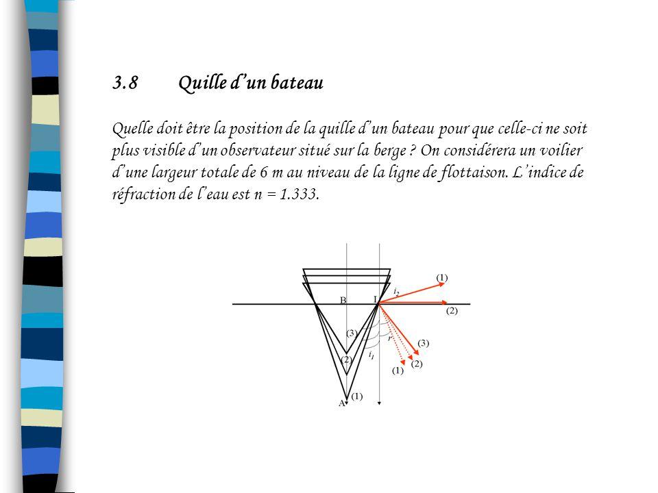 3.7Loi de Kepler Pour des petits angles dincidence, on peut réaliser lapproximation suivante : sin i 1 ~ i 1 Et donc on obtient la relation : n 1 i 1 = n 2 i 2 loi de Kepler Attention, dans cette relation, les angles sont exprimés en radians !