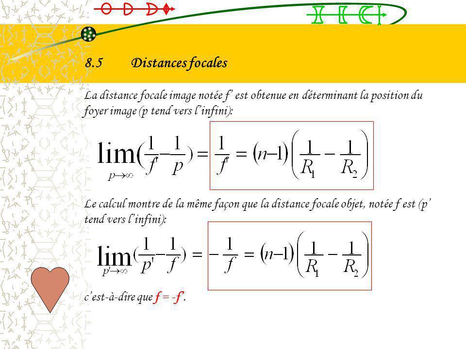 8.4Relation de conjugaison On considère une lentille mince formée par les deux dioptres (1) et (2), de sommet O. On obtient donc les deux relations su