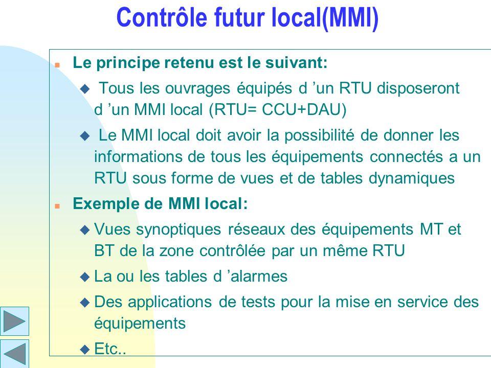 Contrôle futur local(MMI) n Le principe retenu est le suivant: u Tous les ouvrages équipés d un RTU disposeront d un MMI local (RTU= CCU+DAU) u Le MMI