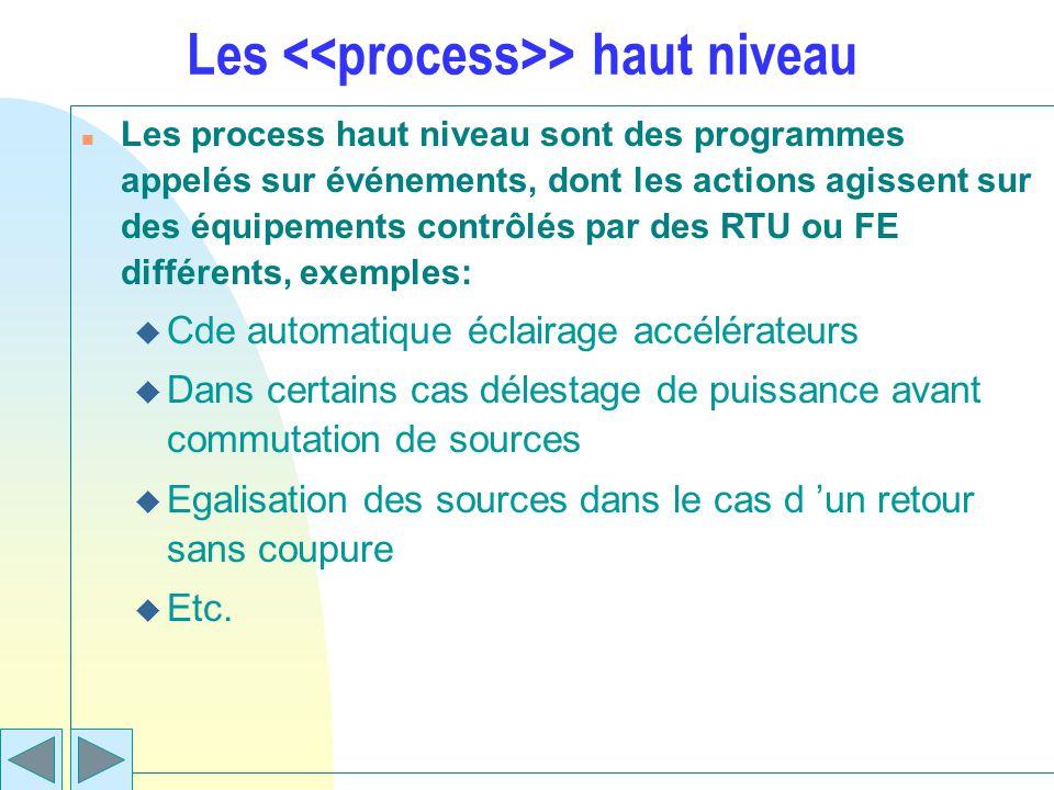 Les > haut niveau n Les process haut niveau sont des programmes appelés sur événements, dont les actions agissent sur des équipements contrôlés par de