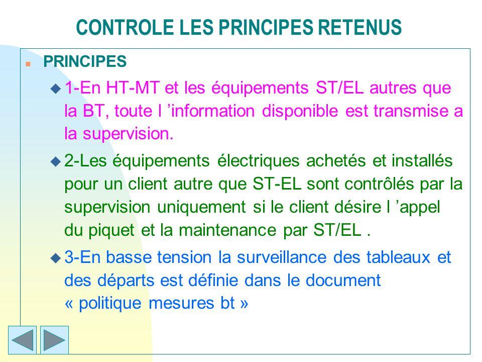 CONTROLE LES PRINCIPES RETENUS n PRINCIPES u 1-En HT-MT et les équipements ST/EL autres que la BT, toute l information disponible est transmise a la s