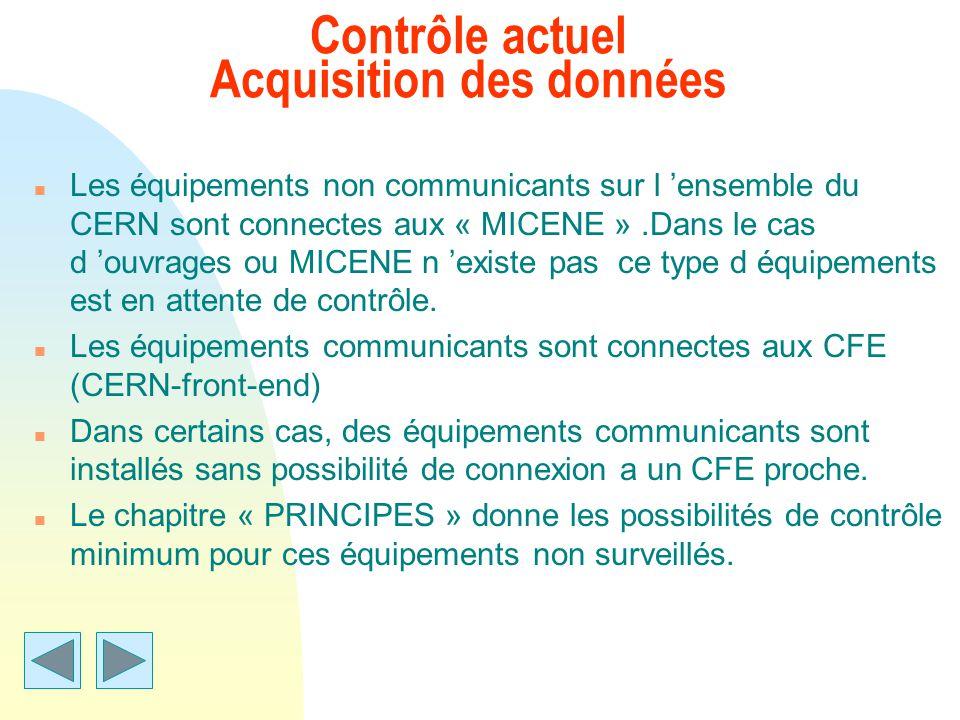 Contrôle actuel Acquisition des données n Les équipements non communicants sur l ensemble du CERN sont connectes aux « MICENE ».Dans le cas d ouvrages
