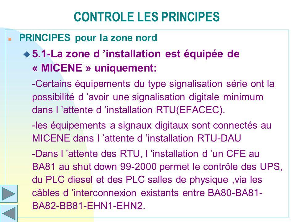 CONTROLE LES PRINCIPES n PRINCIPES pour la zone nord u 5.1-La zone d installation est équipée de « MICENE » uniquement: -Certains équipements du type