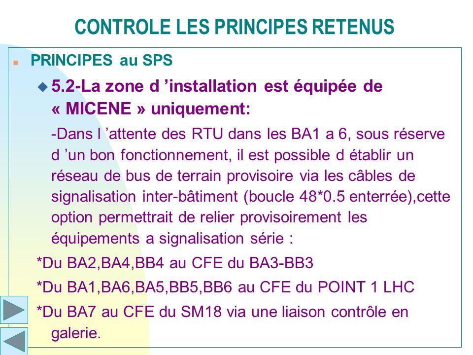 CONTROLE LES PRINCIPES RETENUS n PRINCIPES au SPS u 5.2-La zone d installation est équipée de « MICENE » uniquement: -Dans l attente des RTU dans les