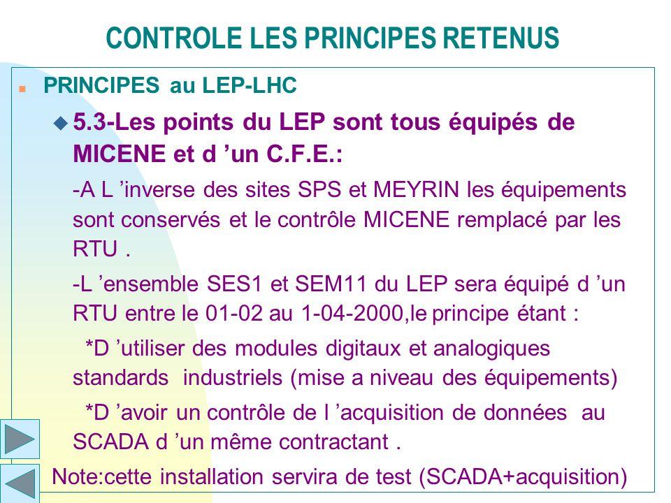 CONTROLE LES PRINCIPES RETENUS n PRINCIPES au LEP-LHC u 5.3-Les points du LEP sont tous équipés de MICENE et d un C.F.E.: -A L inverse des sites SPS e