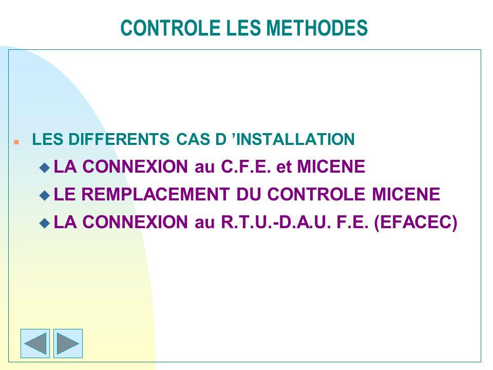 CONTROLE LES METHODES n LES DIFFERENTS CAS D INSTALLATION u LA CONNEXION au C.F.E. et MICENE u LE REMPLACEMENT DU CONTROLE MICENE u LA CONNEXION au R.