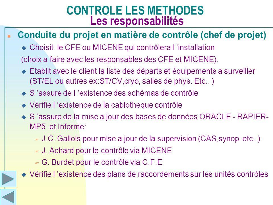 CONTROLE LES METHODES Les responsabilités n Conduite du projet en matière de contrôle (chef de projet) u Choisit le CFE ou MICENE qui contrôlera l ins