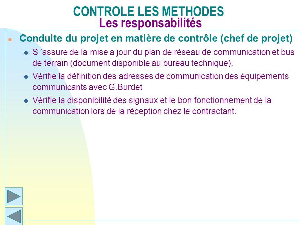 CONTROLE LES METHODES Les responsabilités n Conduite du projet en matière de contrôle (chef de projet) u S assure de la mise a jour du plan de réseau