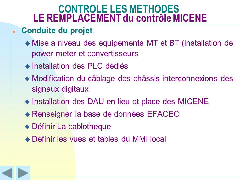 CONTROLE LES METHODES LE REMPLACEMENT du contrôle MICENE n Conduite du projet u Mise a niveau des équipements MT et BT (installation de power meter et