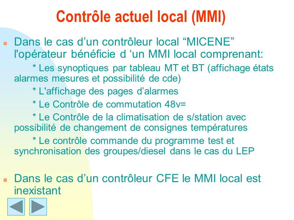 Contrôle actuel local (MMI) n Dans le cas dun contrôleur local MICENE l'opérateur bénéficie d un MMI local comprenant: * Les synoptiques par tableau M