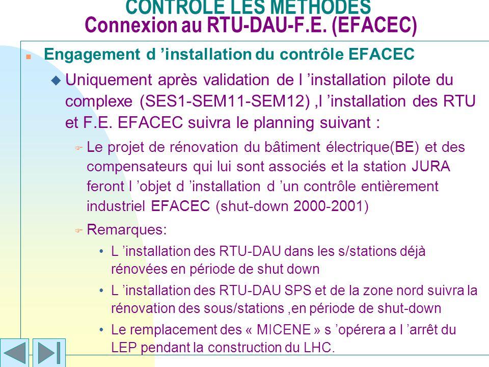 CONTROLE LES METHODES Connexion au RTU-DAU-F.E. (EFACEC) n Engagement d installation du contrôle EFACEC u Uniquement après validation de l installatio