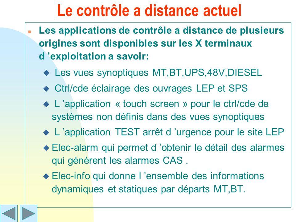 Le contrôle a distance actuel n Les applications de contrôle a distance de plusieurs origines sont disponibles sur les X terminaux d exploitation a sa