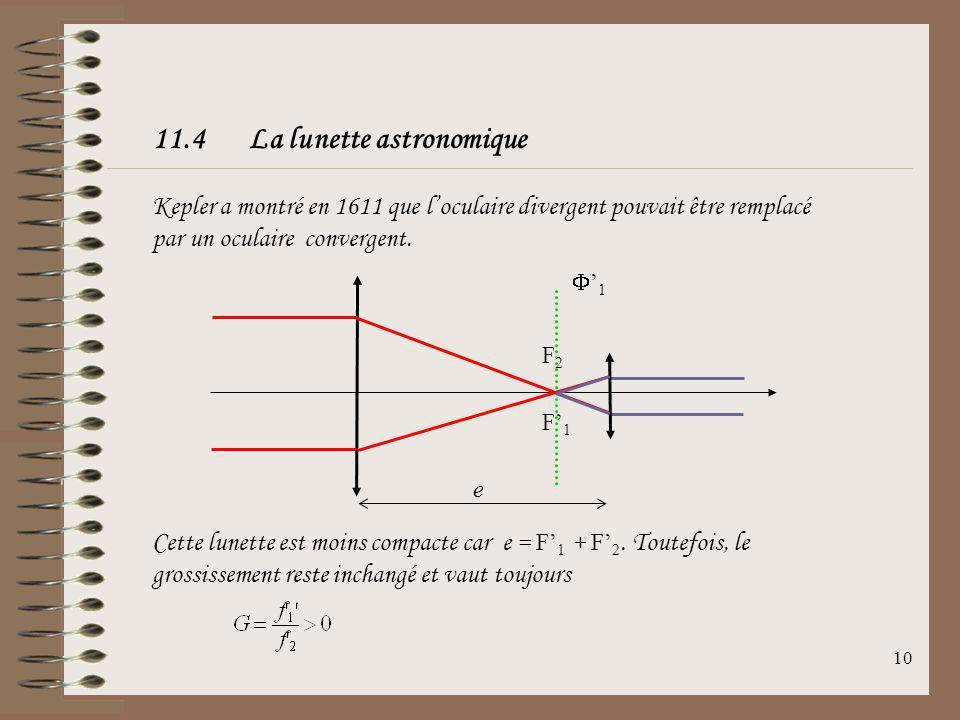 9 Pour limage du Soleil à travers la lunette de Galilée, on obtient: Pour une lunette de Galilée de distances focales usuelles, cest-à-dire typiquemen