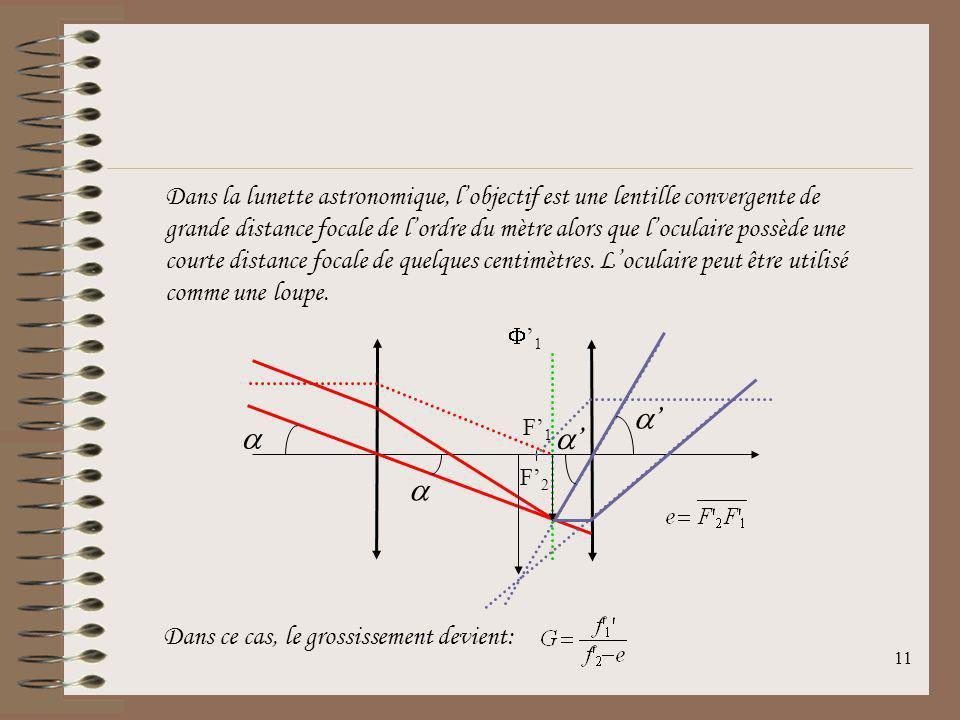 10 11.4La lunette astronomique Kepler a montré en 1611 que loculaire divergent pouvait être remplacé par un oculaire convergent. 1 F1F1 F2F2 e Cette l