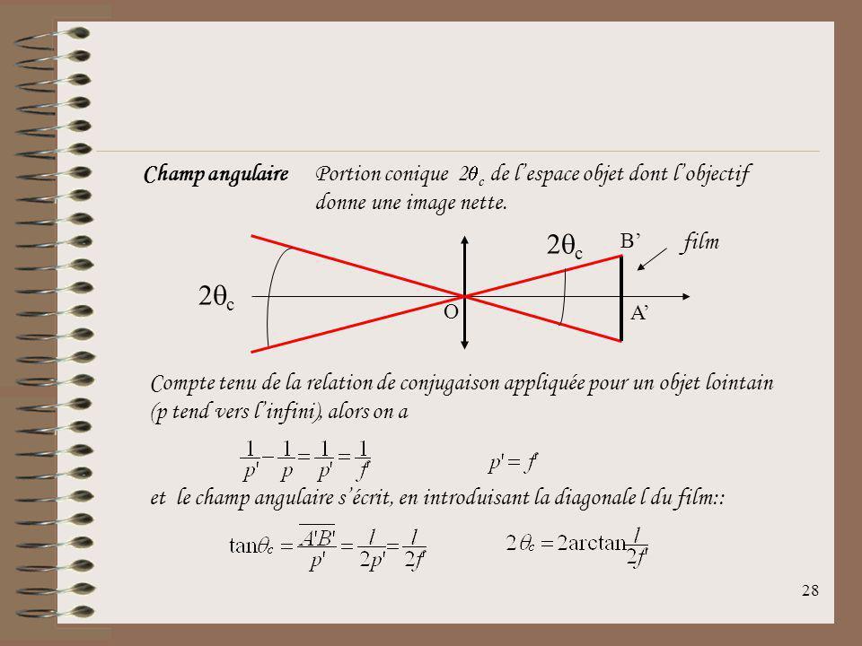 27 12.3Objectif photographique Lobjectif photographique est formé par plusieurs lentilles accolées ou non. Certains objectifs peuvent comporter des mi