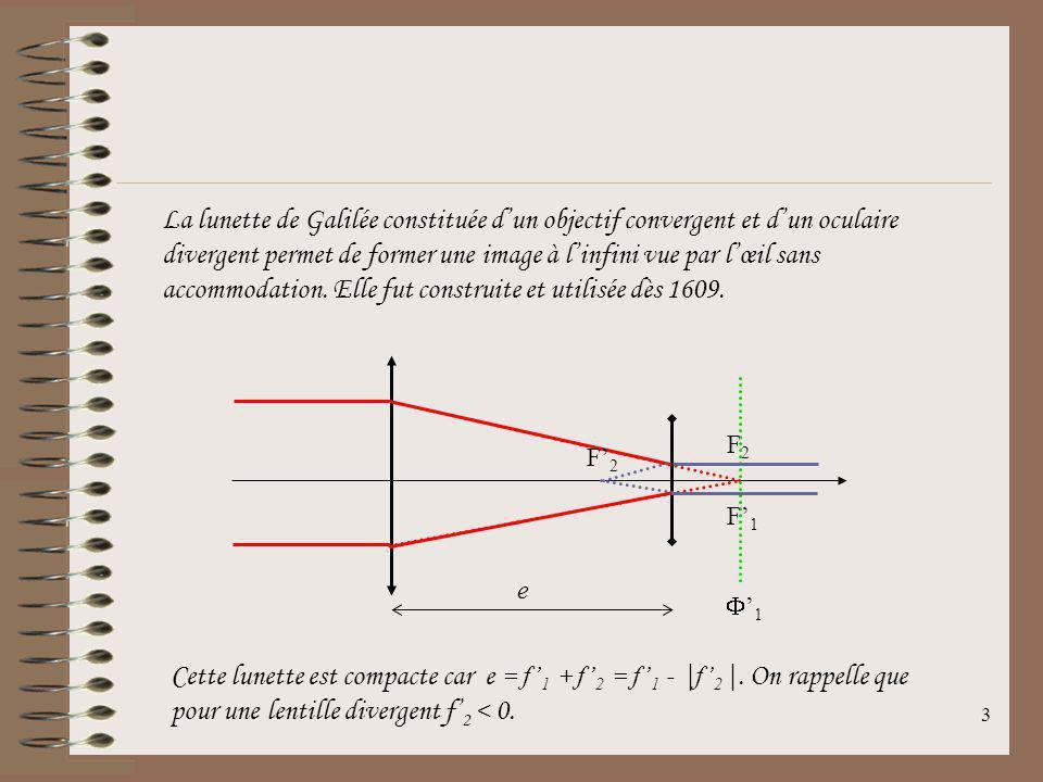 3 La lunette de Galilée constituée dun objectif convergent et dun oculaire divergent permet de former une image à linfini vue par lœil sans accommodation.