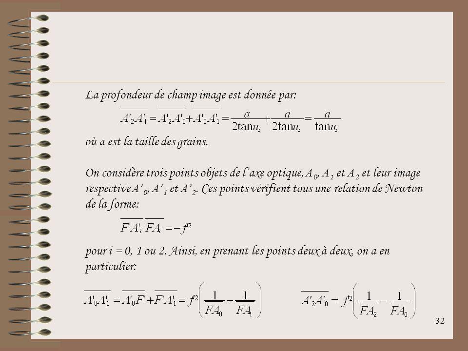 31 12.4Profondeur de champ Profondeur de champ Distance entre les deux points extrêmes A 1 et A 2 de lespace image situés sur laxe optique et pour les