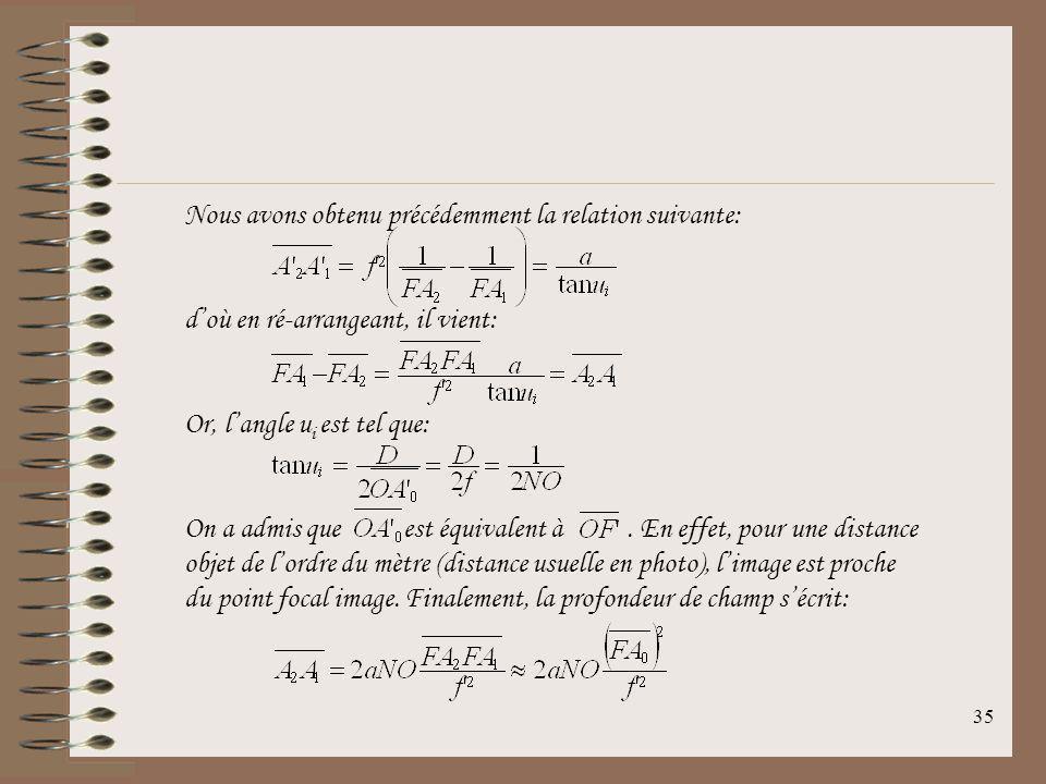 34 On définit ainsi la profondeur de champ dans lespace objet par la distance. Ainsi, en égalant les deux relations précédentes: en considérant A 0 co