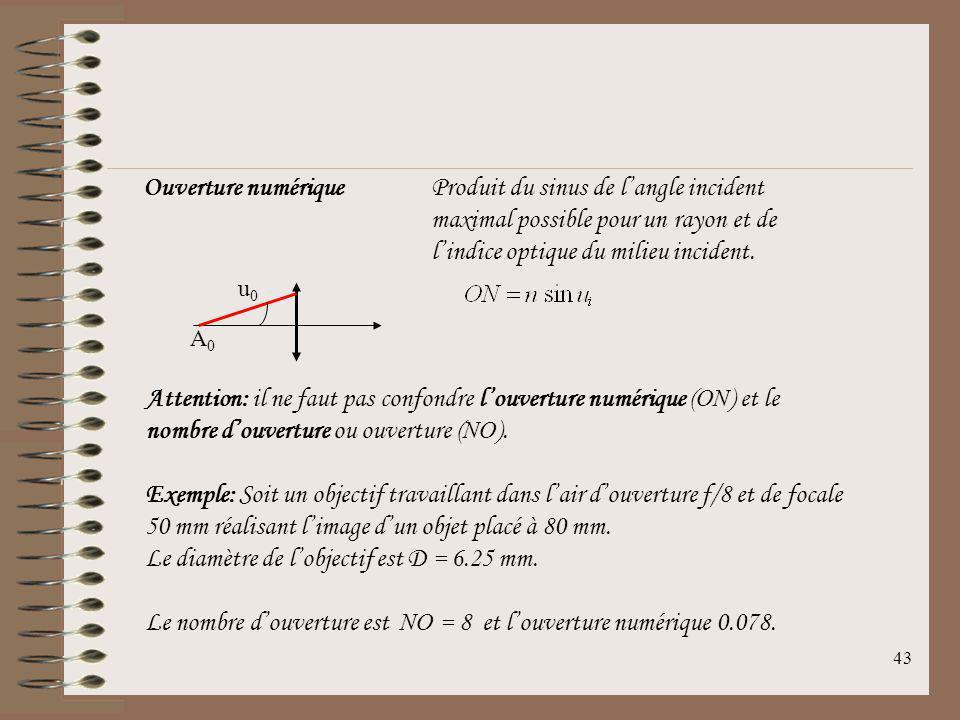 42 Le grossissement de la lentille est défini par: Si lobjet est placé à la distance minimale pour la vision nette de lœil (Punctum Proximum), alors:
