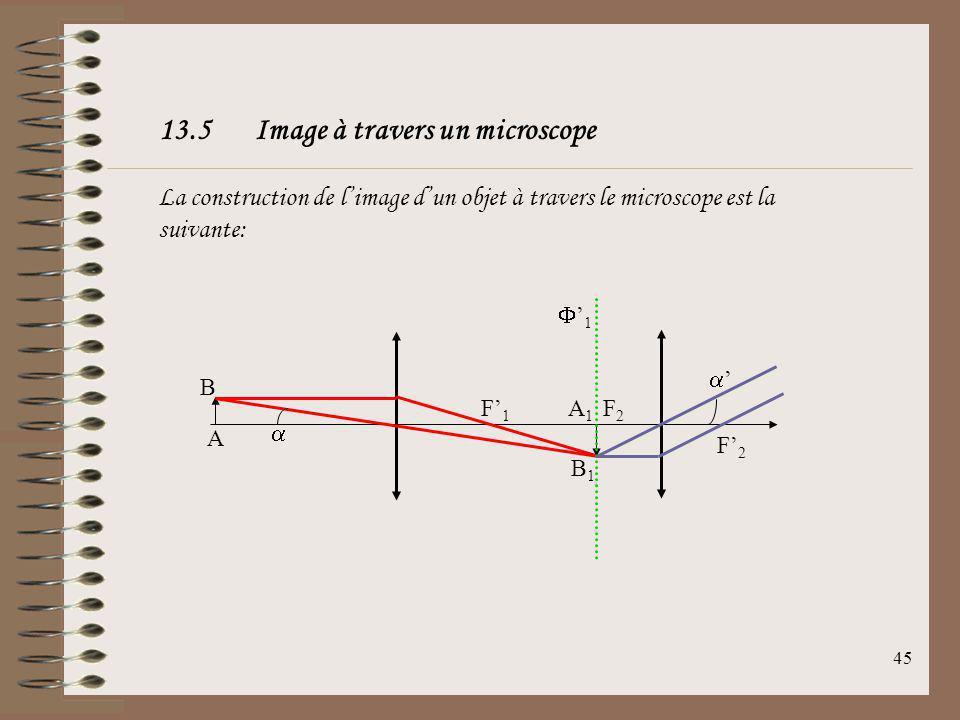44 Indications dun objectif de microscope: Les indications mentionnées sur un objectif de microscope sont de la forme X (grandissement) / (ouverture n