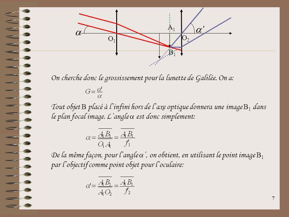 6 11.3Grossissement angulaire On définit le grossissement angulaire de la lunette comme étant le rapport entre le diamètre apparent de limage vue à tr