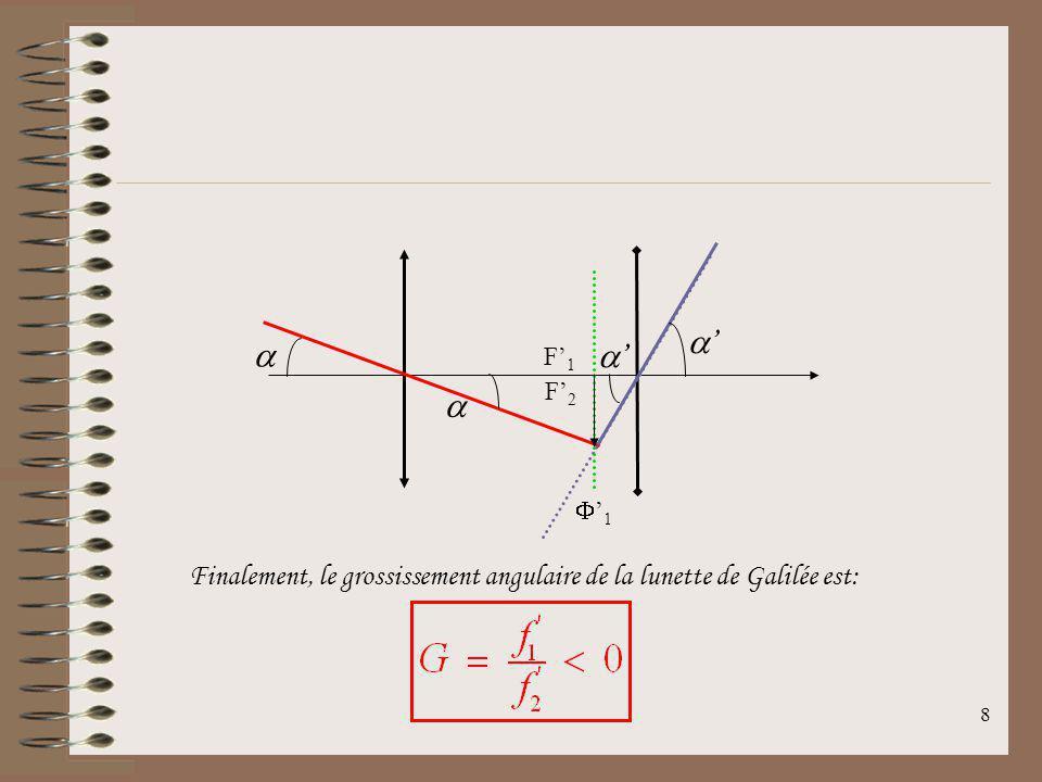7 On cherche donc le grossissement pour la lunette de Galilée. On a: Tout objet B placé à linfini hors de laxe optique donnera une image B 1 dans le p
