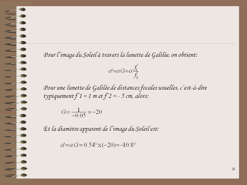 9 Pour limage du Soleil à travers la lunette de Galilée, on obtient: Pour une lunette de Galilée de distances focales usuelles, cest-à-dire typiquement f1 = 1 m et f2 = - 5 cm, alors: Et la diamètre apparent de limage du Soleil est: