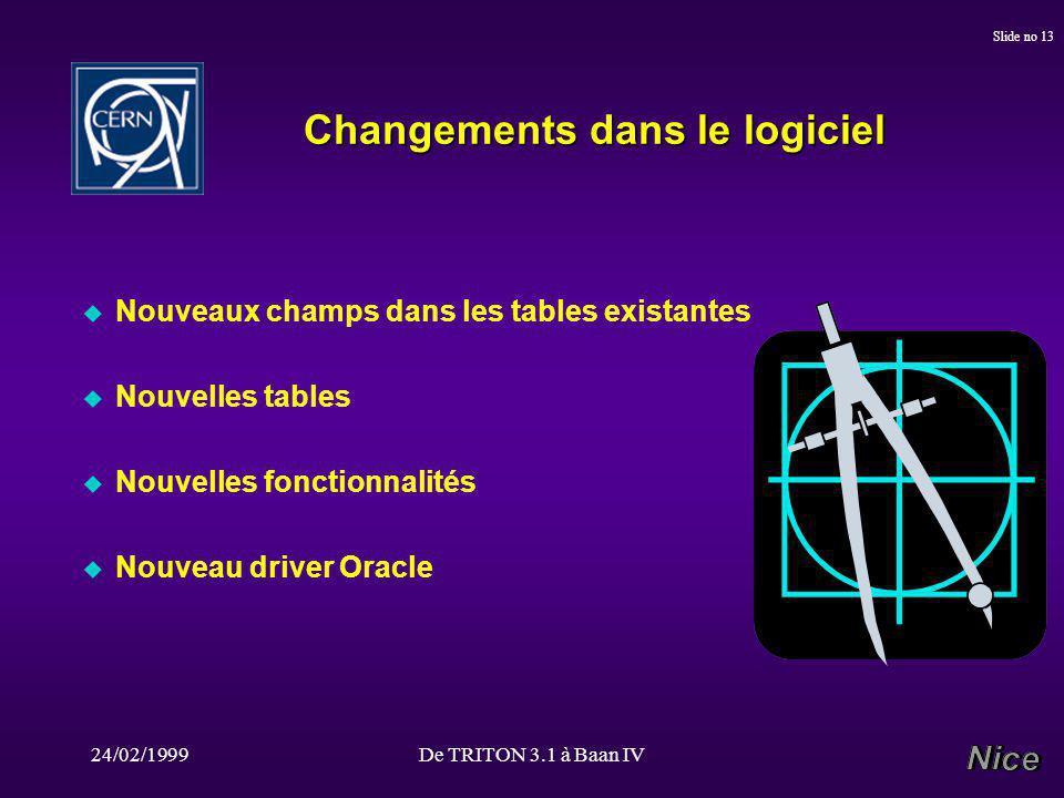 24/02/1999De TRITON 3.1 à Baan IV Slide no 13 Changements dans le logiciel u Nouveaux champs dans les tables existantes u Nouvelles tables u Nouvelles fonctionnalités u Nouveau driver Oracle