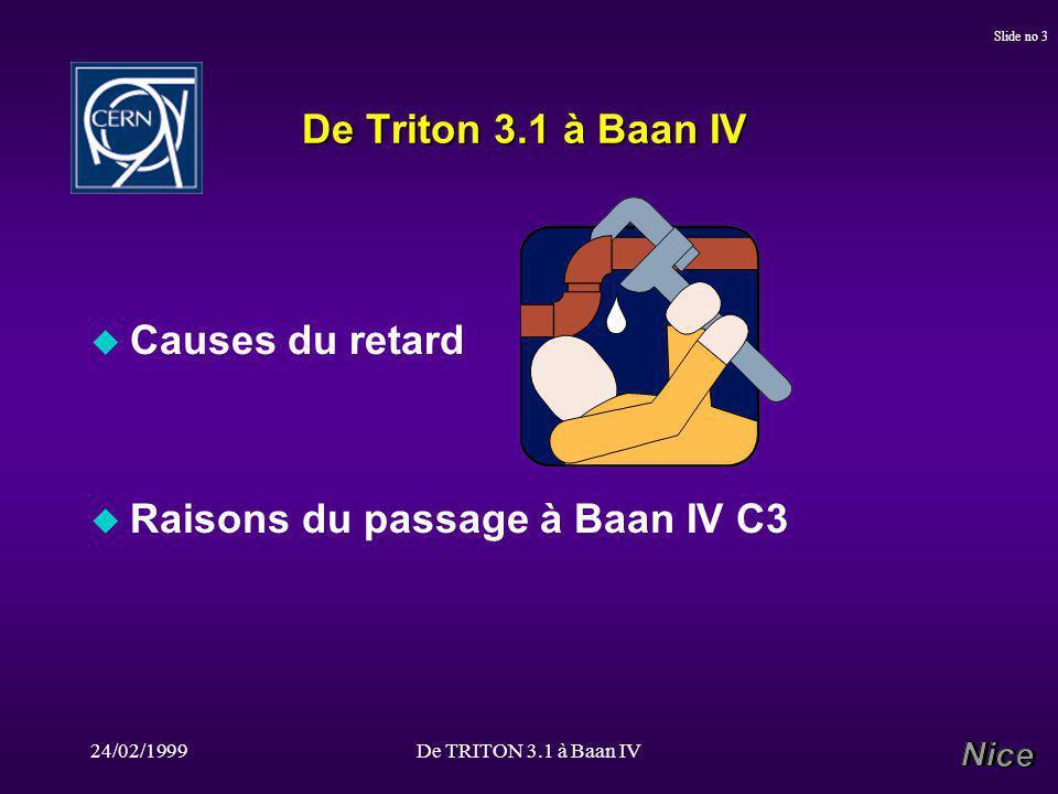 24/02/1999De TRITON 3.1 à Baan IV Slide no 3 De Triton 3.1 à Baan IV u Causes du retard u Raisons du passage à Baan IV C3