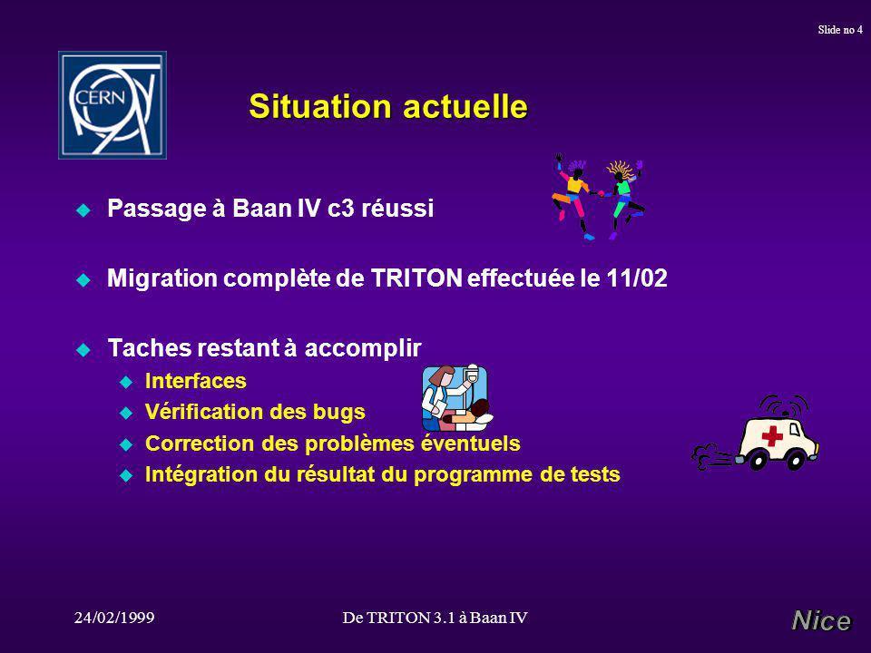 24/02/1999De TRITON 3.1 à Baan IV Slide no 4 Situation actuelle u Passage à Baan IV c3 réussi u Migration complète de TRITON effectuée le 11/02 u Taches restant à accomplir u Interfaces u Vérification des bugs u Correction des problèmes éventuels u Intégration du résultat du programme de tests
