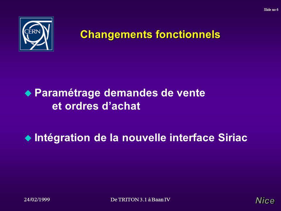 24/02/1999De TRITON 3.1 à Baan IV Slide no 6 Changements fonctionnels u Paramétrage demandes de vente et ordres dachat u Intégration de la nouvelle interface Siriac