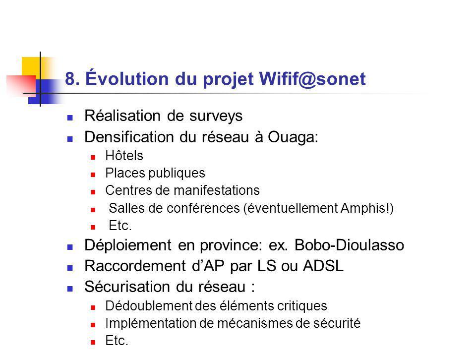 8. Évolution du projet Wifif@sonet Réalisation de surveys Densification du réseau à Ouaga: Hôtels Places publiques Centres de manifestations Salles de
