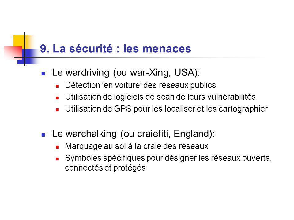 9. La sécurité : les menaces Le wardriving (ou war-Xing, USA): Détection en voiture des réseaux publics Utilisation de logiciels de scan de leurs vuln