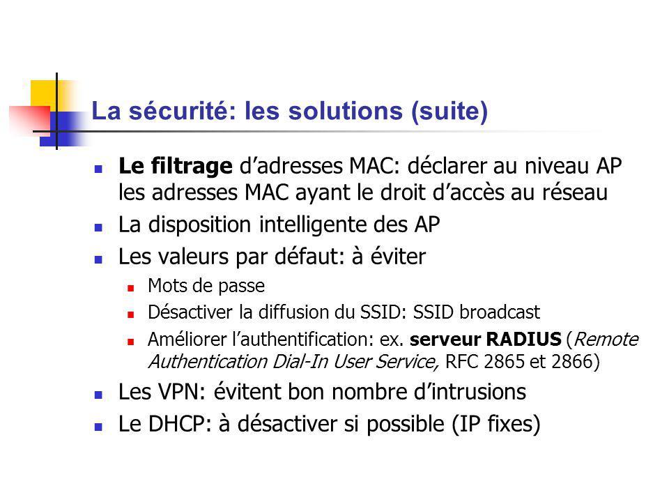 La sécurité: les solutions (suite) Le filtrage dadresses MAC: déclarer au niveau AP les adresses MAC ayant le droit daccès au réseau La disposition in