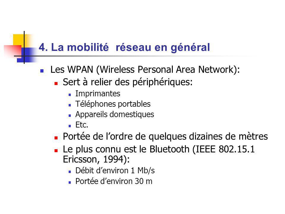 4. La mobilité réseau en général Les WPAN (Wireless Personal Area Network): Sert à relier des périphériques: Imprimantes Téléphones portables Appareil