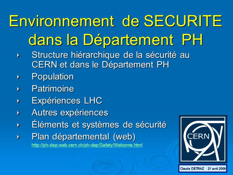 Environnement de SECURITE dans la Département PH Structure hiérarchique de la sécurité au CERN et dans le Département PH PopulationPatrimoine Expériences LHC Autres expériences Éléments et systèmes de sécurité Plan départemental (web) http://ph-dep.web.cern.ch/ph-dep/Safety/Welcome.html Claude DETRAZ 21 avril 2006