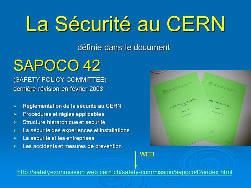 Règles de sécurité SAPOCO Pour son fonctionnement, lorganisation base sa réglementation de sécurité sur : Les directives européennes Les règles en vigueur dans les états hôtes.