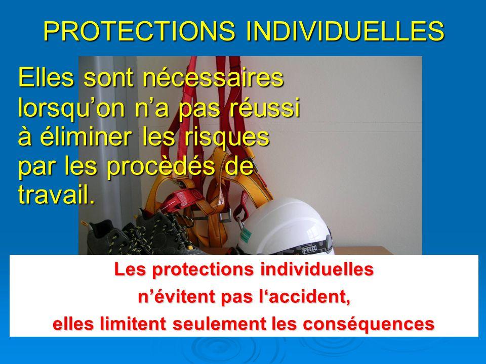 PROTECTIONS INDIVIDUELLES Elles sont nécessaires lorsquon na pas réussi à éliminer les risques par les procèdés de travail.