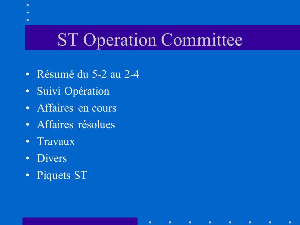 ST Operation Committee Résumé du 5-2 au 2-4 Suivi Opération Affaires en cours Affaires résolues Travaux Divers Piquets ST
