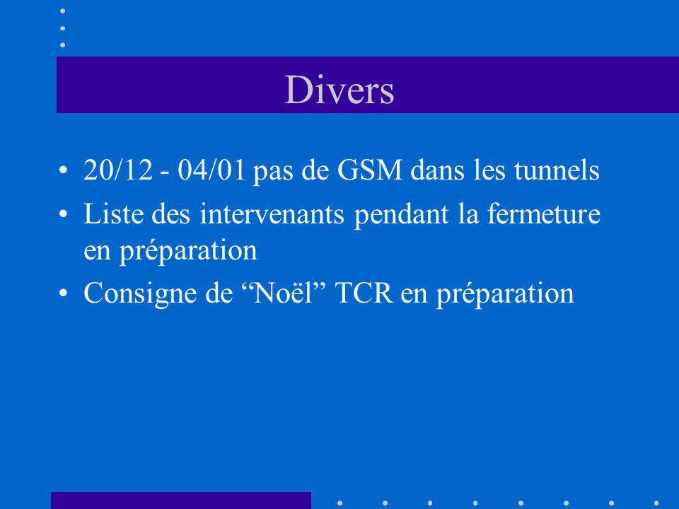 Divers 20/12 - 04/01 pas de GSM dans les tunnels Liste des intervenants pendant la fermeture en préparation Consigne de Noël TCR en préparation