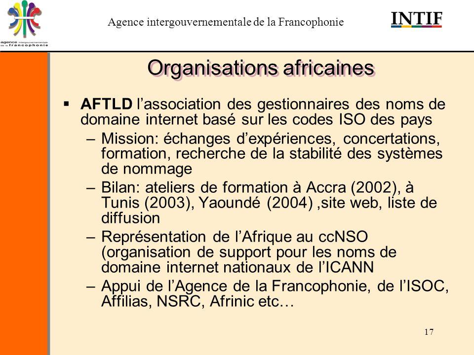Agence intergouvernementale de la Francophonie 17 Organisations africaines AFTLD lassociation des gestionnaires des noms de domaine internet basé sur