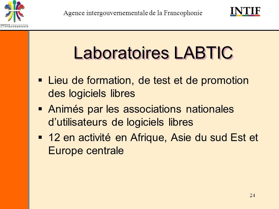 Agence intergouvernementale de la Francophonie 24 Laboratoires LABTIC Lieu de formation, de test et de promotion des logiciels libres Animés par les a