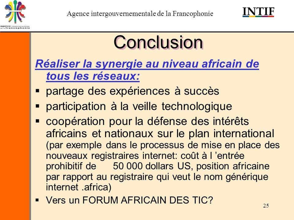 Agence intergouvernementale de la Francophonie 25 Conclusion Réaliser la synergie au niveau africain de tous les réseaux: partage des expériences à su