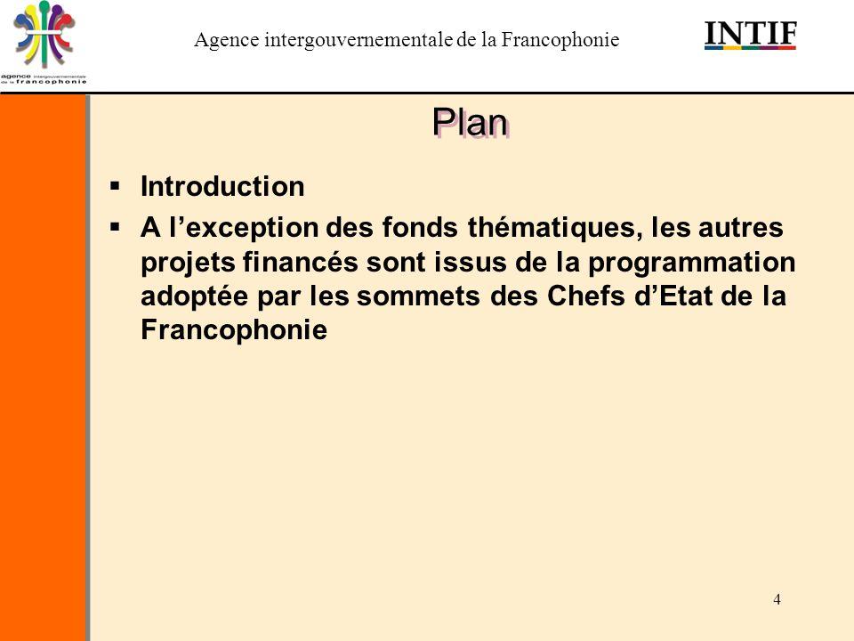 Agence intergouvernementale de la Francophonie 4 Plan Introduction A lexception des fonds thématiques, les autres projets financés sont issus de la pr