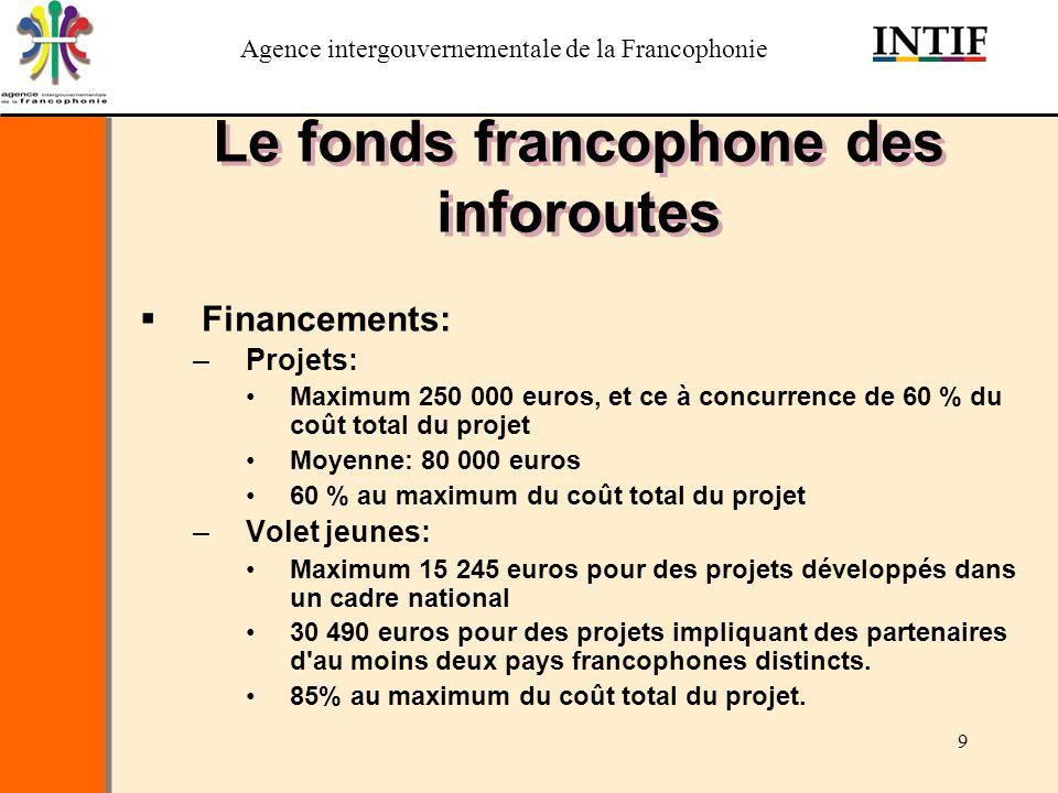 Agence intergouvernementale de la Francophonie 9 Le fonds francophone des inforoutes Financements: –Projets: Maximum 250 000 euros, et ce à concurrenc