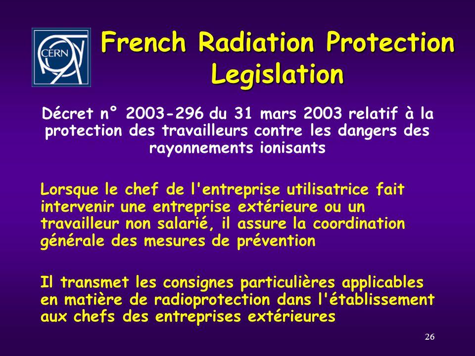 26 French Radiation Protection Legislation Décret n° 2003-296 du 31 mars 2003 relatif à la protection des travailleurs contre les dangers des rayonnem