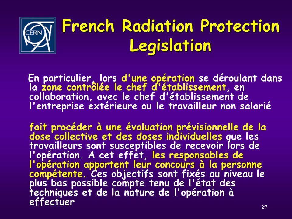 27 French Radiation Protection Legislation En particulier, lors d'une opération se déroulant dans la zone contrôlée le chef d'établissement, en collab