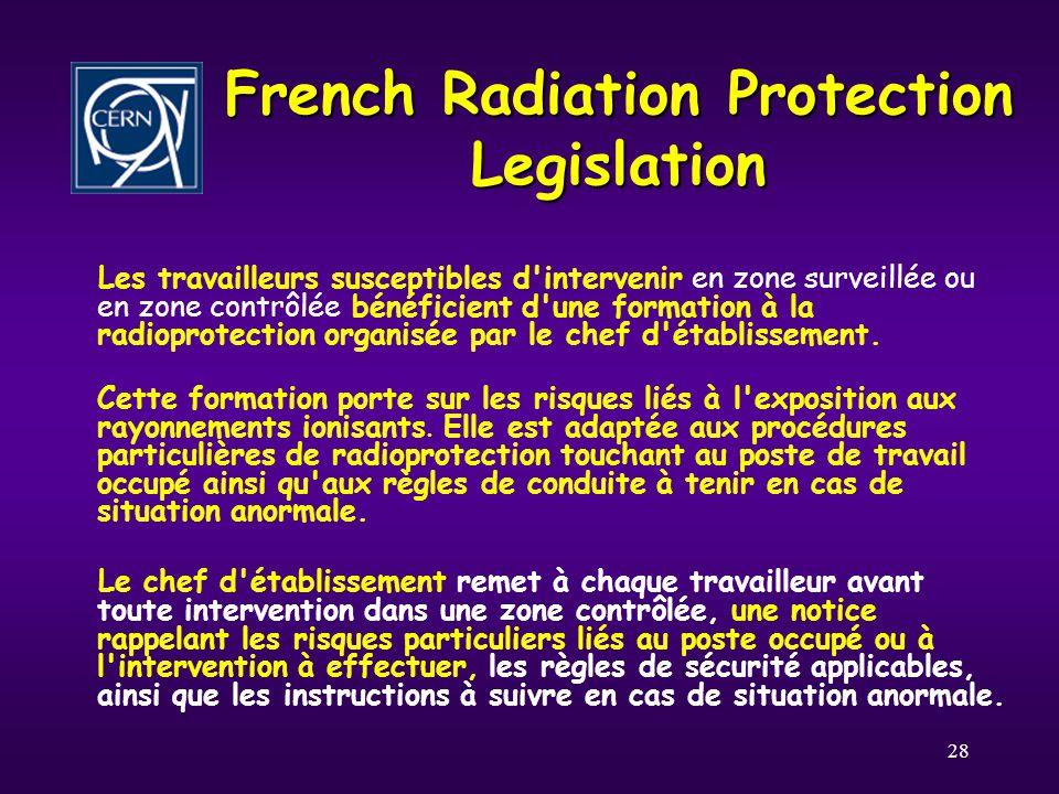 28 French Radiation Protection Legislation Les travailleurs susceptibles d intervenir en zone surveillée ou en zone contrôlée bénéficient d une formation à la radioprotection organisée par le chef d établissement.